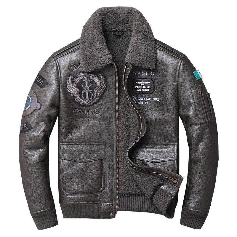 Fábrica 2019 homens shearling jaqueta de vôo top gun força aérea piloto jaquetas casual lã forro casacos de pele carneiro rússia casacos de inverno