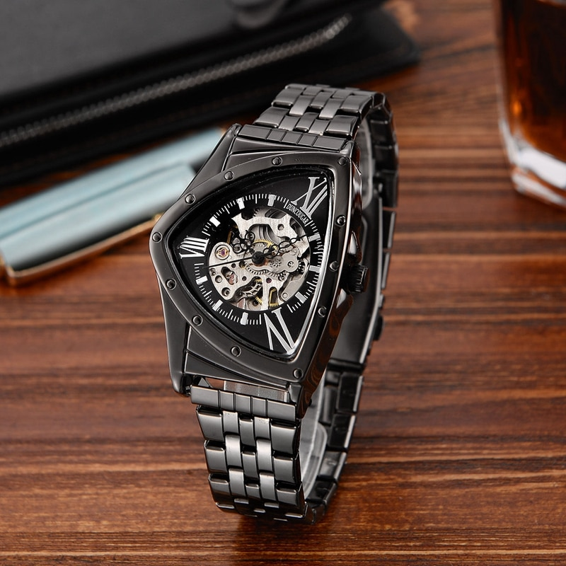 Мужские треугольные механические часы, модные часы из нержавеющей стали, Прямая поставка