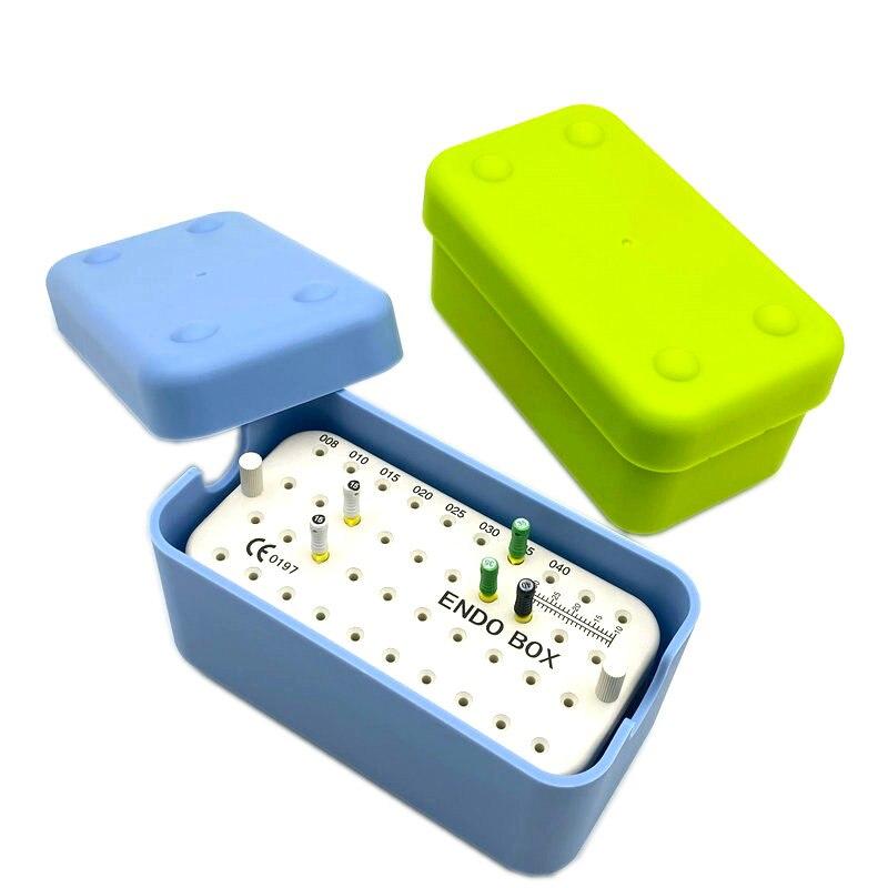 Caja de plástico Dental Endo de 40 agujeros con regla, limas, soporte para fresas, soporte para limpiar, esterilización Autoclavable, herramientas