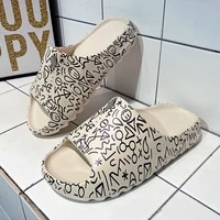 unisex men women summer couple size 35 46 non slip house slippers high quality graffiti casual beach lover shoes