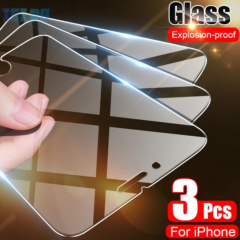 Protecteur d'écran, en verre trempé pour iPhone 7 8 6 6S Plus 11 7 5 5s SE 2020 Pro Max X XS Max XR