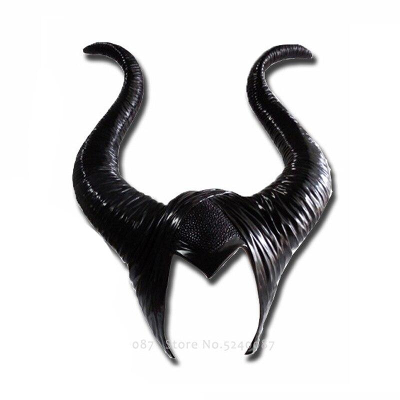 Женский латексный головной убор с рогом для Хэллоуина, Карнавальная маска ведьмы, дьявола, шлем с капюшоном, кепка, вечерние, косплей, страшный костюм