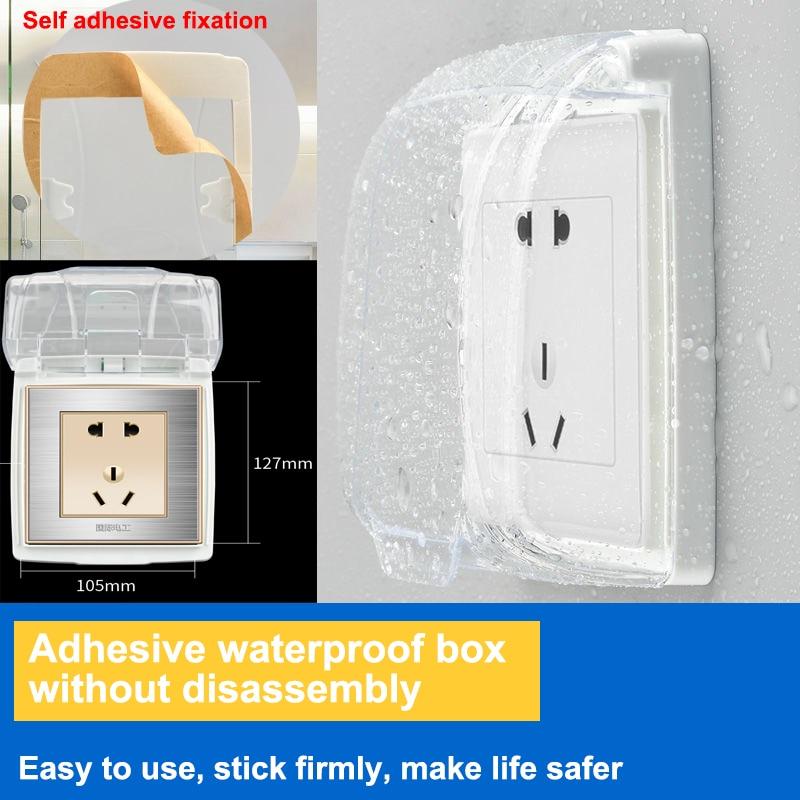 Universal 86 tipo enchufe de pared Caja impermeable placa transparente protección del interruptor cubierta de la caja de enchufe al aire libre
