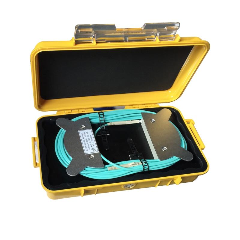 OM3 المتعدد الألياف البصرية OTDR إطلاق الكابل مربع ، FC/UPC-SC/UPC الميت منطقة المزيل الألياف حلقة