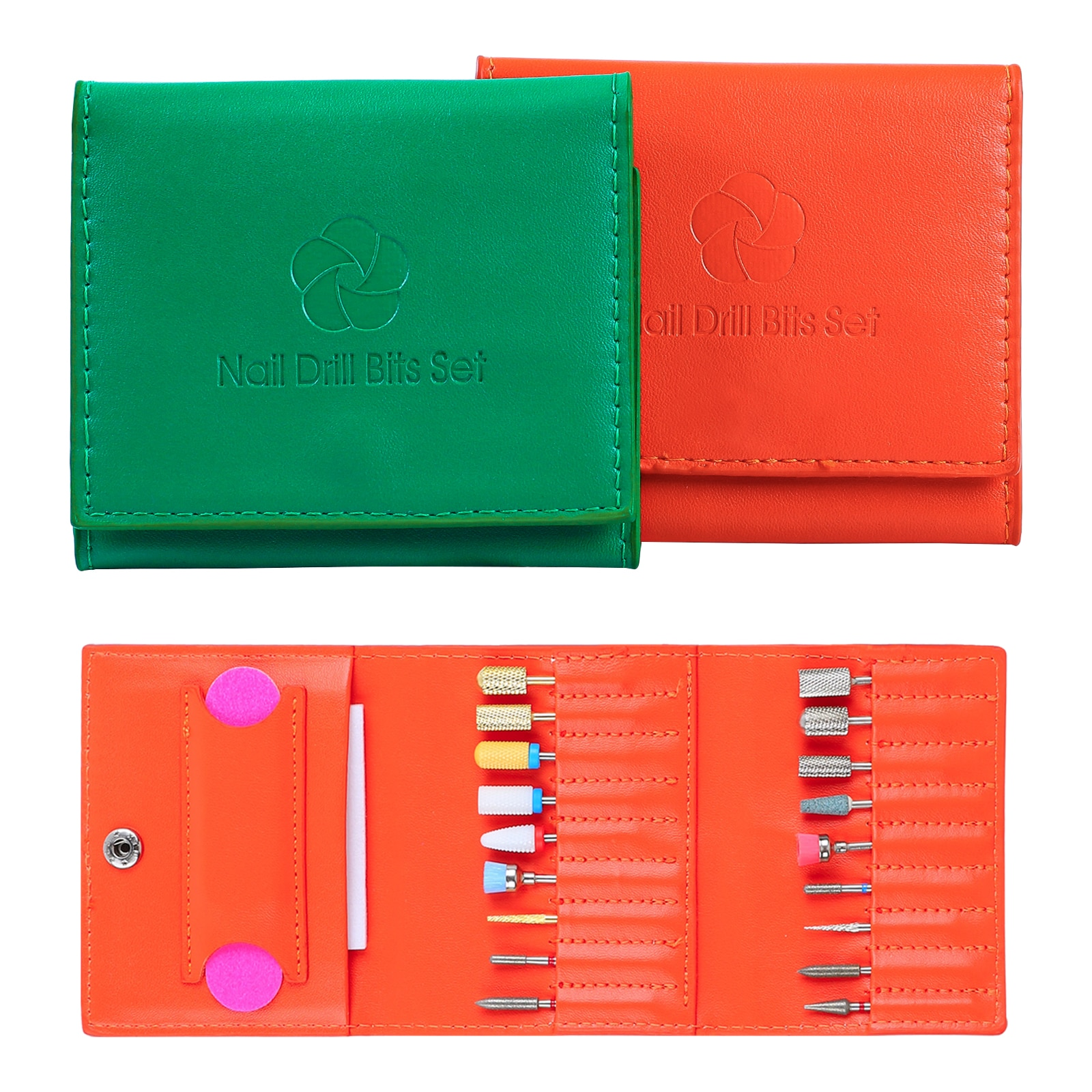 18 Holes Nail Art Drill Bits Storage Bag Polishing Head Kits Display Portable Electric Milling Cutter Grinding Head Save Package