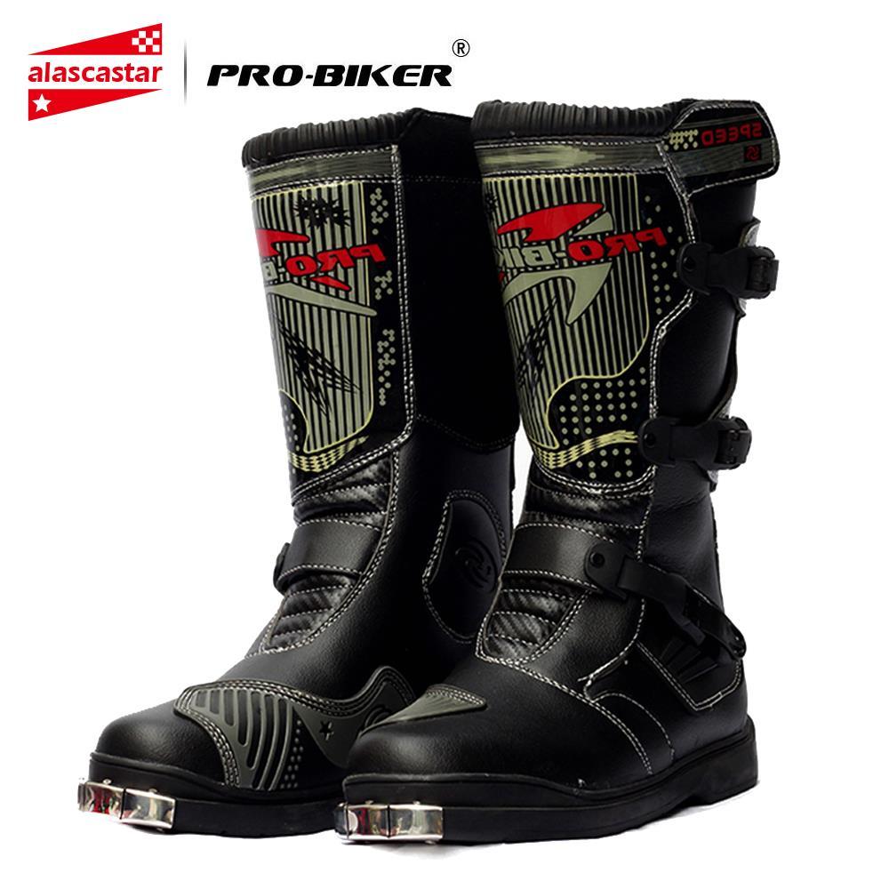 Botas de Moto PRO-BIKER Botas de PU impermeables para hombre Botas de Moto Motocross zapatos de protección de motocicleta Botas largas de muslo