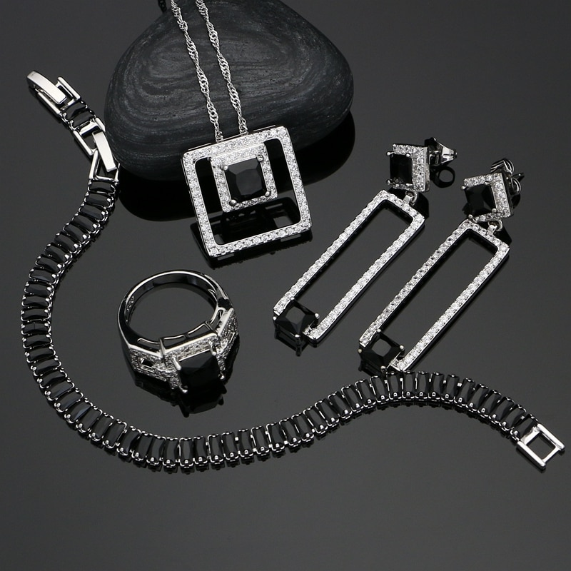 Conjuntos de joyería nupcial de plata 925, Zirconia cúbica negra, joyería de cristal blanco para mujer, pendientes/colgante/anillo/pulsera/collar