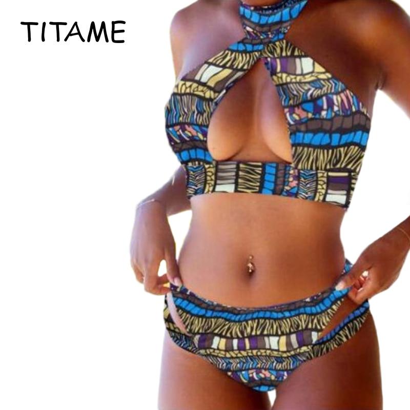 Sexy Women's Ethnic Color Print Open Chest Halter Bikini Set Push-Up Padded Bra Swimsuit Hollow Split Floral Bra Brief Swimwear