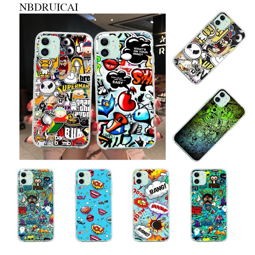 NBDRUICAI Anime Graffiti Sticker Bomb TPU black Phone Case Cover Hull for iPhone 11 pro XS MAX 8 7 6 6S Plus X 5S SE XR cover