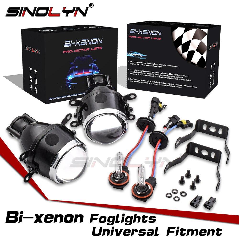 Sinolyn projetor luz de nevoeiro lente bi-xenon lentes do carro 2.5 universal universal universal h11 hid bifocal condução nevoeiro lâmpadas acessórios retrofit diy