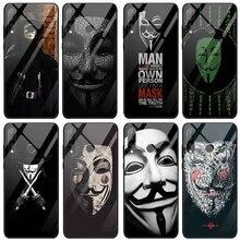 Étui en verre trempé pour Huawei Honor 6X 8 8A 9 10 P20 P30 Mate 20 Y6 Y9 Lite Pro 2019 V pour Vendetta anonyme Guy Fawkes masque