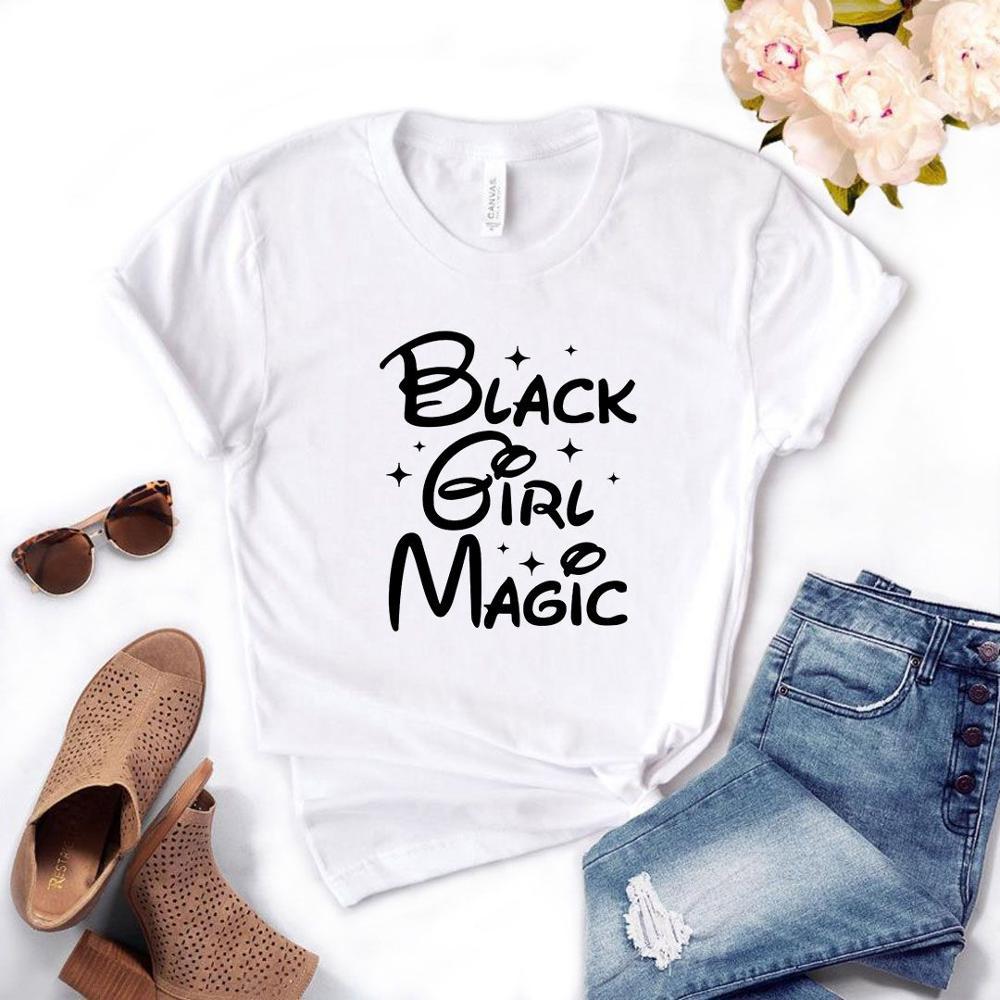 Camiseta de regalo Lady Yong Girl Top Tee negro Girl estampado mágico mujeres camiseta 6 colores lindo