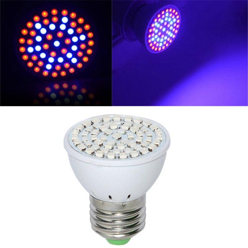 Espectro completo E27 3W 60 LED LUZ DE CRECIMIENTO Blub 41 rojo 19 azul para planta hidropónica AC 220V