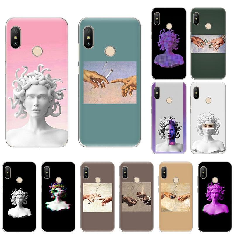 Medusa Statue Fresco funny Finger art Adam phone Case For Xiaomi Mi Note10 9T CC9 9 A3 Lite Play A2 6x Redmi Note 8T 8 7 5 6 4x