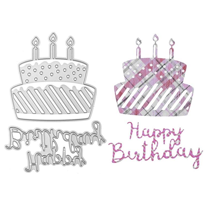 Happy Birthday Metal Cutting Dies  Birthday Cake Stencil for DIY Scrapbooking Album Embossing Paper Cards Making Decor Crafts