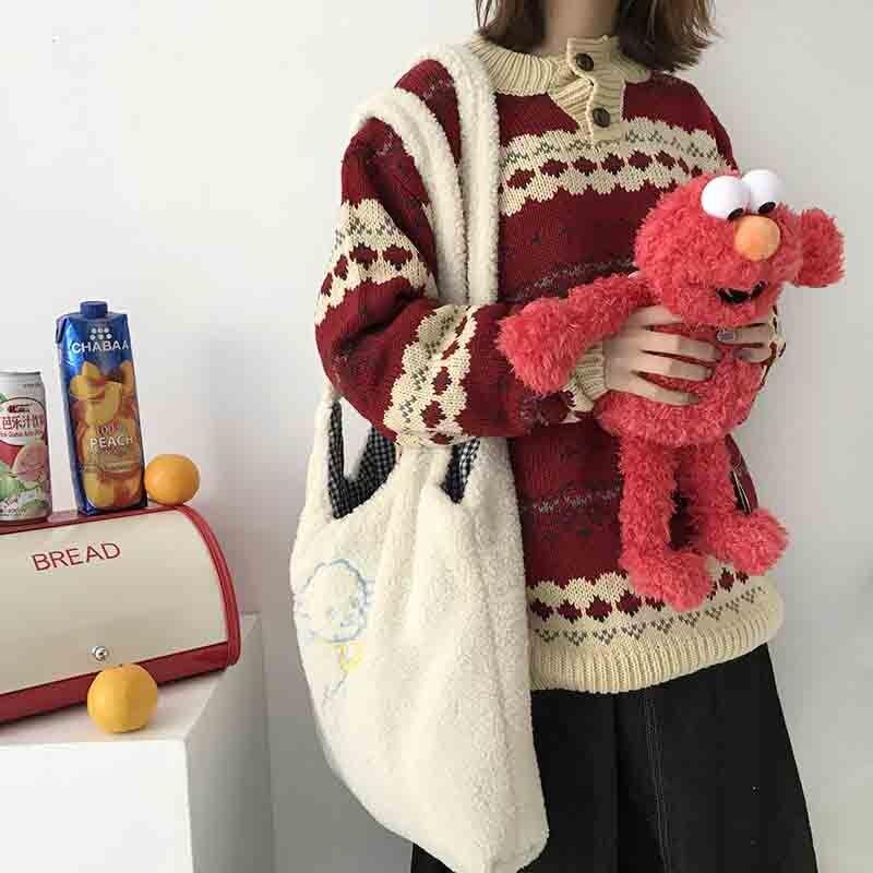 Bolso de hombro de cordero para mujer, bolso de lona simple, bolso de mano, bolso de compras bordado de gran capacidad, bonito bolso escolar para niña