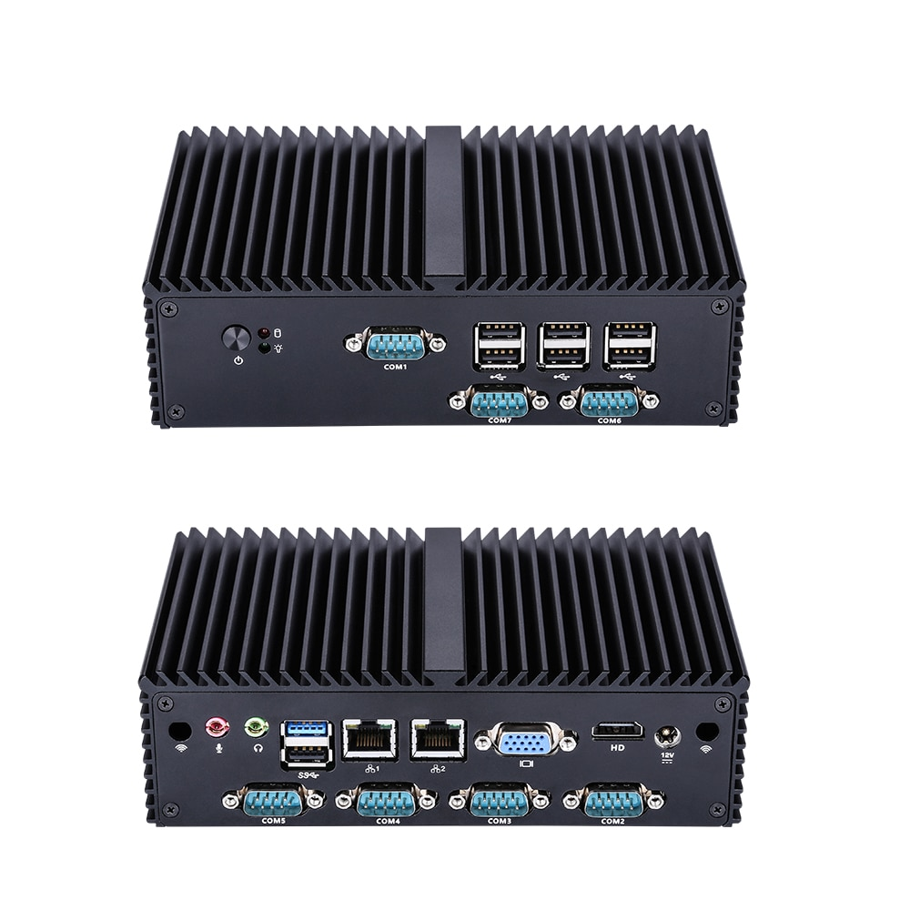 7 RS232 مايكرو لينكس رباعية النواة J1900 الصناعية بدون مروحة جدار الحماية كمبيوتر صغير ، ودعم LPT ، PS2