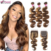 Funmi Highlight Body Wave Bundles With Closure Human Hair Bundles With Closure Brazilian Hair Weave