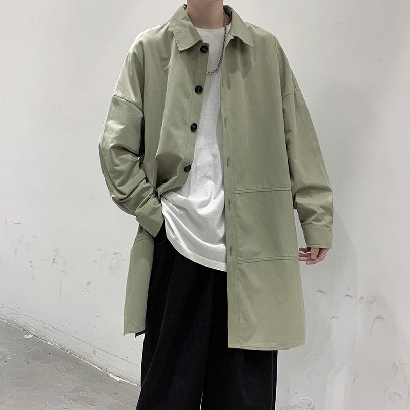 Multicolor Trench Coat Men's Fashion Casual Long Coat Men Streetwear Korean Loose Oversized Windbreaker Jacket Mens Overcoat