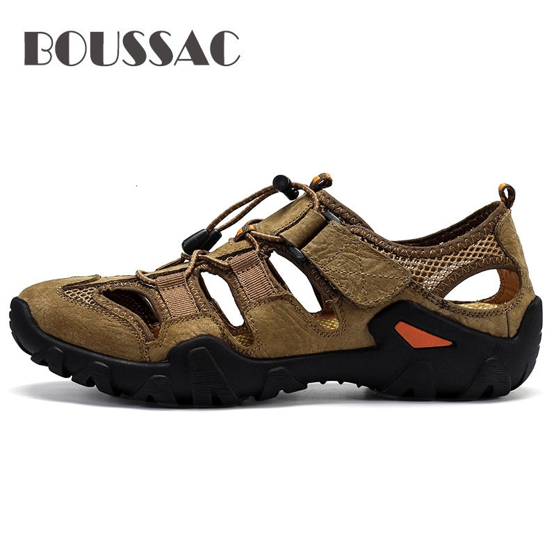 BOUSSAC zapatos de senderismo al aire libre impermeables para hombres sandalias de senderismo de cuero genuino de montaña zapatillas deportivas antideslizante zapatos de Auqa