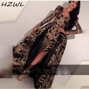 Sequined Mermaid Evening Dresses With Detachable Train Sequined AppliquesFull Sleeves Prom Dress Side Split вечерние платья