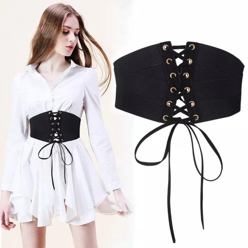Retro Women Girdle Stretch Zipper Straps For Ladies Shirt Dress Decorative Waistband Lady High Waist