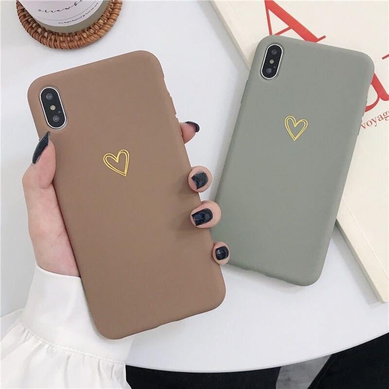 Carcasa ultradelgada de estilo coreano con diseño de corazón de amor bronceado para iPhone XS MAX 11 Pro X XR 7 8 Plus, funda trasera suave de Tpu para teléfono
