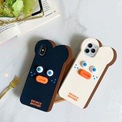 3d anime pão estranho para telefone iphone caso 6s 7 8 plus para 11 pro x xr xs max silicone material all-inclusive capa traseira
