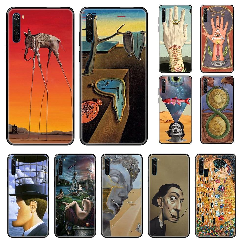 Pintura estética Salvador Dalí 3D suave funda parachoques negro funda de teléfono para Xiaomi Redmi Note S2 4 5 6 7 8 A S X Plus Pro