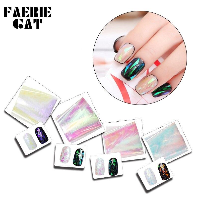 40*4cm Hologram Glass Nail Paper Sticker Gradient Aurora Transfer Foils Shinning Mirror Wraps Nail Art Decoration 3D Accessories