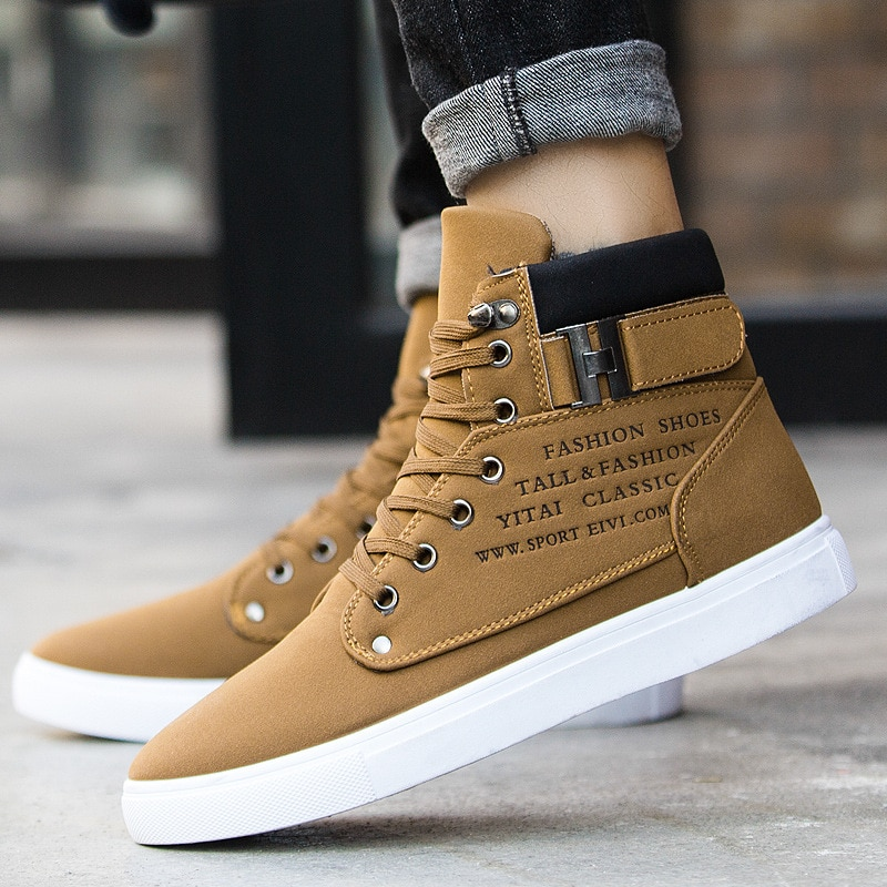 Comfortable High Top brand solid Canvas Men sneaker shoes new warm winter Platform Sneakers Men casu