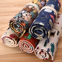 36/48/72 Holes Beautiful Pencil Bag Men Women Color Pencils Case Holder Wrap Roll Up Stationery Cartoon School Things