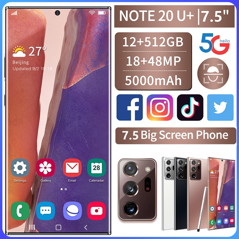 Smartphone Global Version Galay Note20U+ 7.5-inch Telephone 12GB+512GB Smart Phone Android 10.0 4G/ 5G Mobile Phone