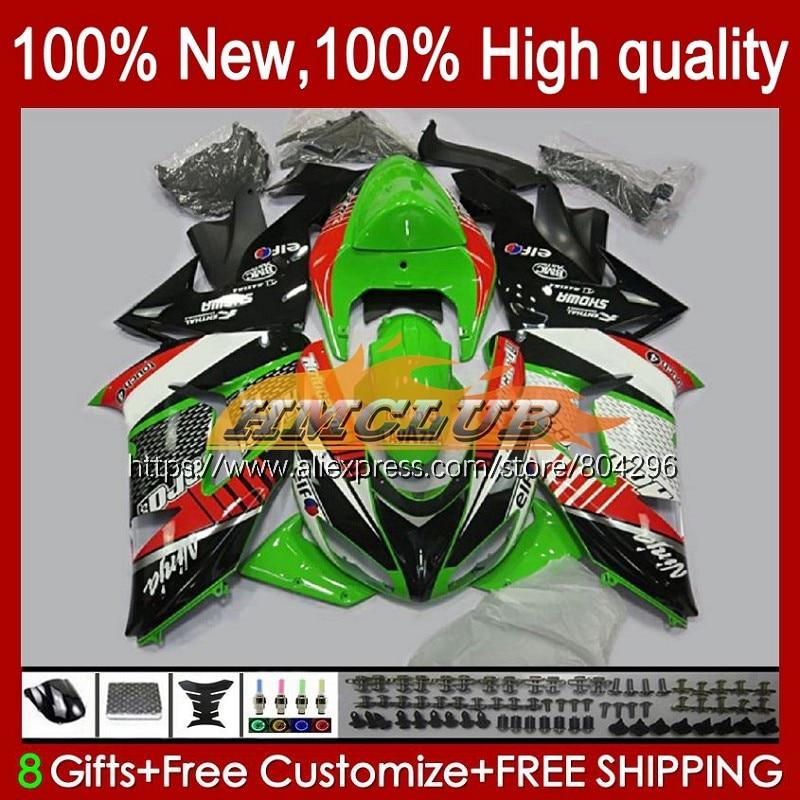 طقم الجسم ل كاوازاكي نينجا ZX 1000 CC ZX10R 06 07 85No.8 ZX 10 R ZX1000CC 1000CC ZX 10R ZX-10R 2006 الأخضر أسود 2007 هدية