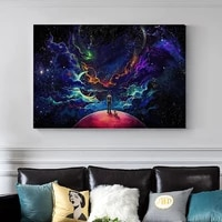 man and dog in space canvas painting wall art mysterious universe picture for living room posters and prints home decor