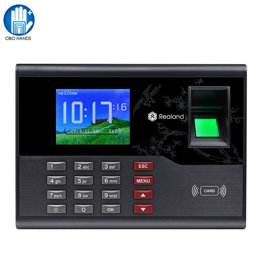 Realand Biometric Fingerprint Time Attendance System TCP/IP Network RFID Employee Check-in Recorder USB for Office Free Software