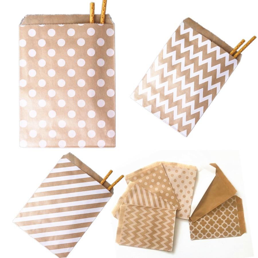 Bolsas de papel de caramelos para fiestas y navidad, bolsitas de regalo de lunares, chevron, polka para fiesta de cumpleaños y bodas, 25, 50 y 100 unidades
