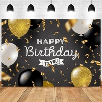 black gold happy birthday party backdrop boys girls lady men balloon photography background women floral photographic banner