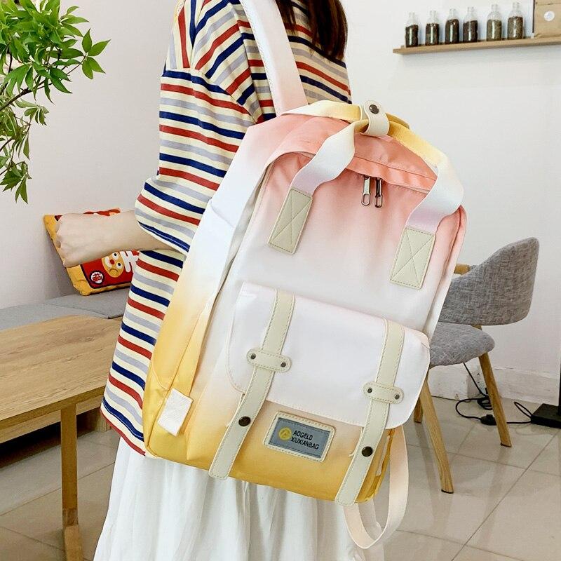Модный женский рюкзак карамельных цветов с градиентом, высококачественный водонепроницаемый нейлоновый тканевый рюкзак для отдыха и путе...