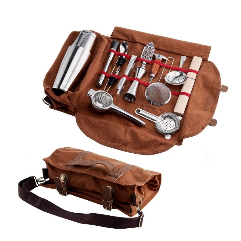 حقيبة حمل لنادل البار ، مجموعة أدوات قماشية لنادل إبداعي ، مجموعة أدوات البار ، مجموعة شاكر الكوكتيل ، حقيبة التخزين فقط