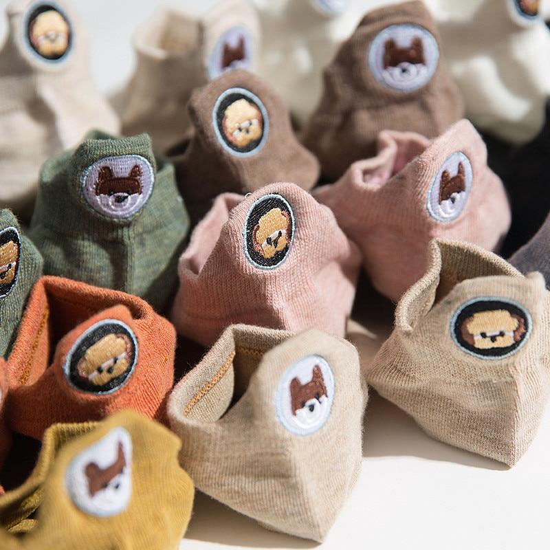 Harajuku japon Skarpetki chaussettes drôles broderie Panda carlin mignon chaussettes femmes Divertidos créatif Sokken Kawaii Chaussette Femme