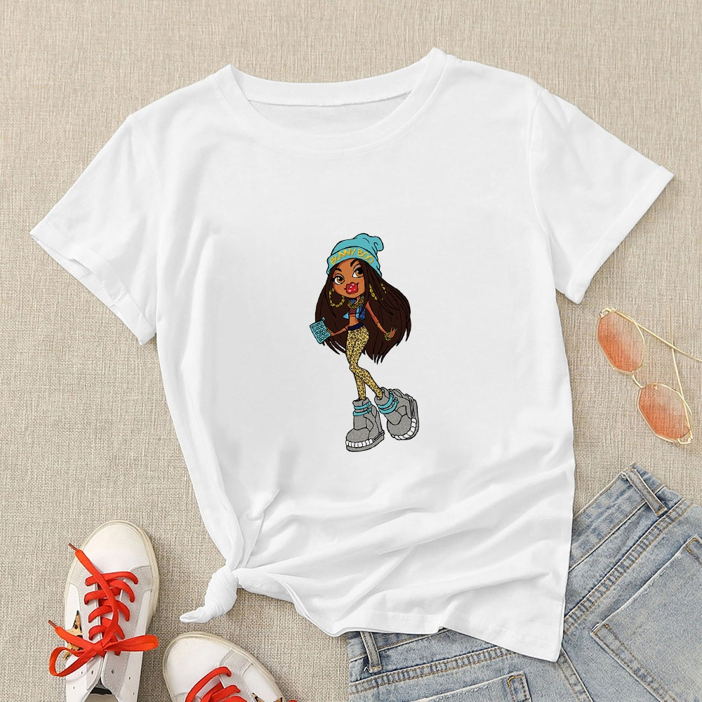 Sexy Bratz Cartoon Print Vogue T Shirt Women 2021 Summer Top Hipster Short Sleeve Plus Size Harajuku Streetwear Teen Clothing  - buy with discount