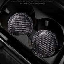 1Pcs Black Auto Water Cup Slot Non-Slip Cup Coaster Carbon Fiber Mat For Subaru Legacy Outback Forester Impreza WRX BRZ