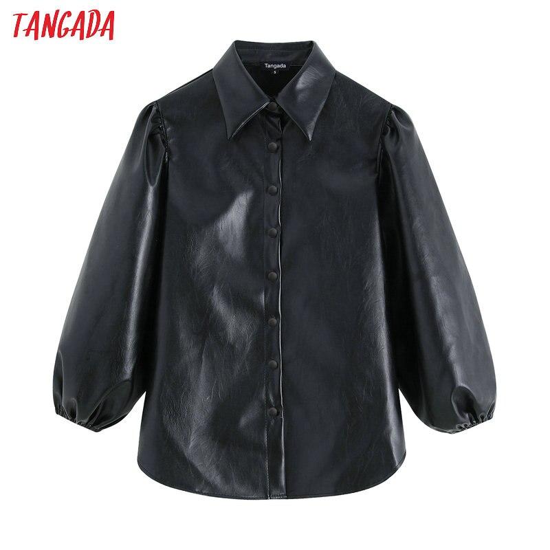 Tangada mulheres do falso de couro preto camisas 2019 nova chegada lanterna manga vintage feminino blusas oversize topos be04