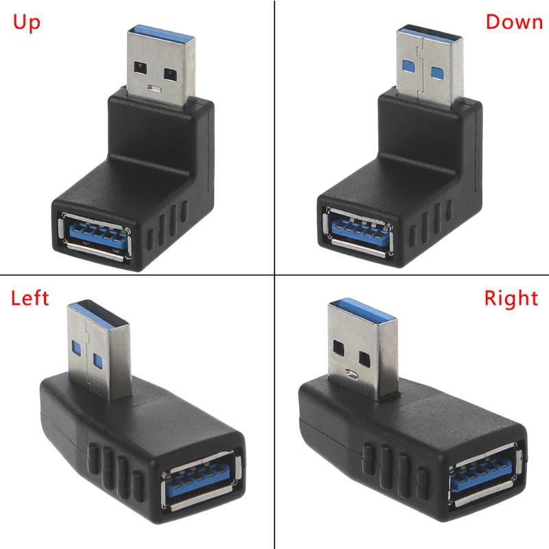 Conector de 90 grados en ángulo izquierdo-derecho USB 3,0 A adaptador macho...