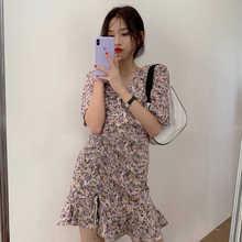 French Style Small Floral Dress Women's Summer Design Sense Niche Normcore Bag Salt Sweet Fried Stre