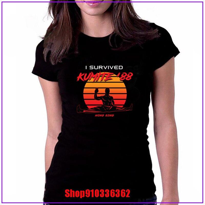 Kumite 88 artes marciales I survived dibujo en blanco 2020 nueva camiseta divertida de manga corta adulto 100% algodón camiseta femenina tops