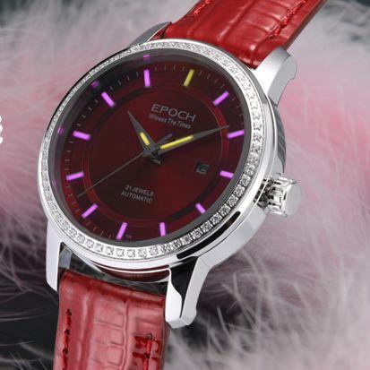 EPOCH Women Automatic Watch Tritium Light T25 Pink color Japan 21Jewels Movement waterproof 50m rhinestone Date