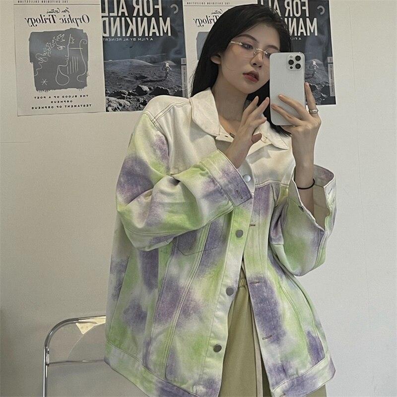 Куртка женская джинсовая с принтом, модная уличная одежда в Корейском стиле Харадзюку, свободная однобортная винтажная верхняя одежда из д...