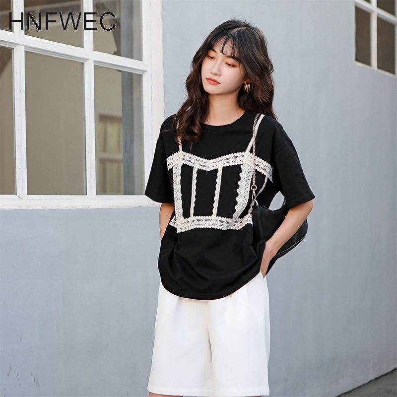 Preto retalhos de renda t camisa das mulheres coreano tshirt verão manga curta top designer camisa 2020 roupas u144